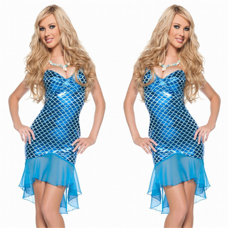 Adult blue Mermaid Dress Halloween Sexy fish animal Cosplay Costume Night  club DS Costume Dance Masquerade Uniform Party Dress-in Movie   TV costumes  from ... 7f0c1f247646