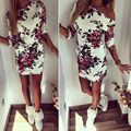 2017 New Summer Off Shoulder Casual Women Dress Floral Printed Sheath Wedding Cocktail  Bodycon Dresses vestido