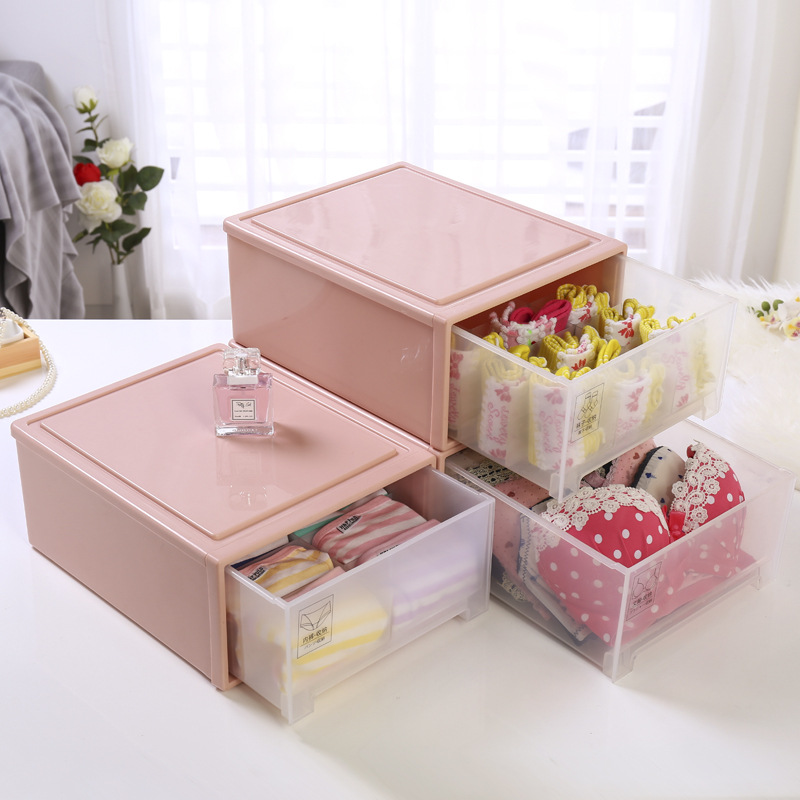 Home Storage Drawer Boxes For Underwear Socks Ties Bra Closet Divider Plastic Storage Box With Cover Organizer Container