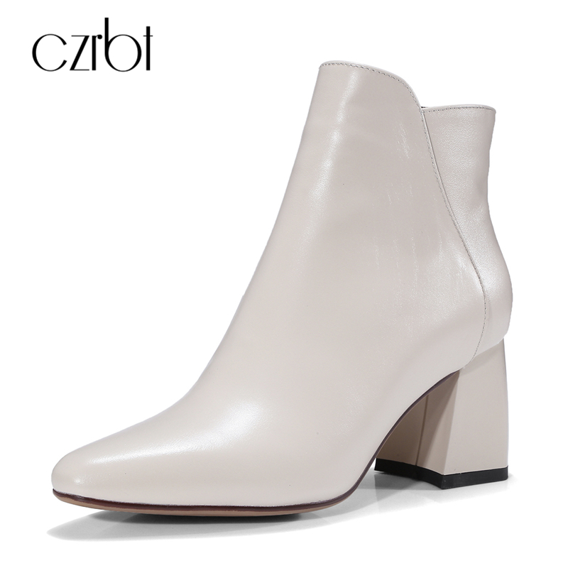 CZBRT Spring Autumn Chelsea Boots Women Genuine Leather Ankle Zipper Boots Women Pointed Toe Solid Color High Heel Short Boots czrbt patchwork ankle boots women spring autumn cow suede leather pointed toe black high heel boots thick heel chelsea boots