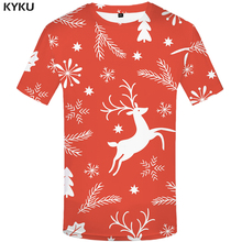 KYKU Xmas T Shirt Men Christmas Shirt Gifts Printed Tshirt Punk Rock Clothes Red Elk 3d T-shirt Hip Hop Mens Clothing Streetwear