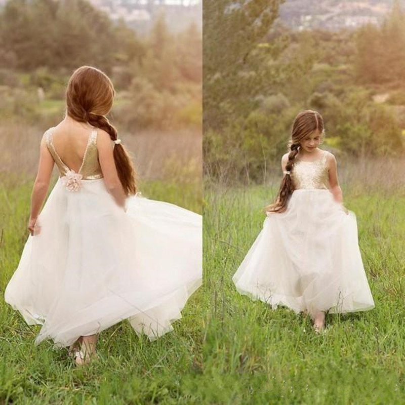 2019 New Coming   Flower     Girl     Dress   with Beading   Flower   Backless Sequins Top Custom Made   Girls   Pageant Gowns Robe de Fiesta Longo