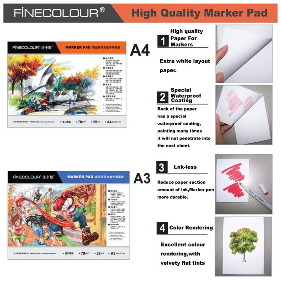 Фото Finecolour Size A3/A4 Bleedproof Marker Pad Manga Sketch Marker Paper 70g Drawing Pad for Art Markers 24-Sheets