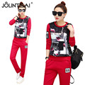 New Arrival Plus Size 2017 Long Sleeve Roses Printed 2 Piece Set Fashion Women's Tracksuits Casual Loose Sportswear Sets Female