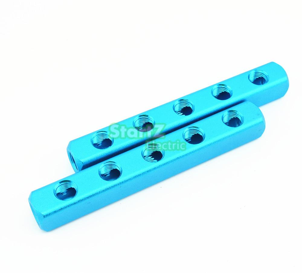 1/4 PT Thread 8 Port 5 Way Quick Connector Air Hose Manifold Block Splitter Blue air compressor 1 2bsp 2 way hose pipe inline manifold block splitter teal blue