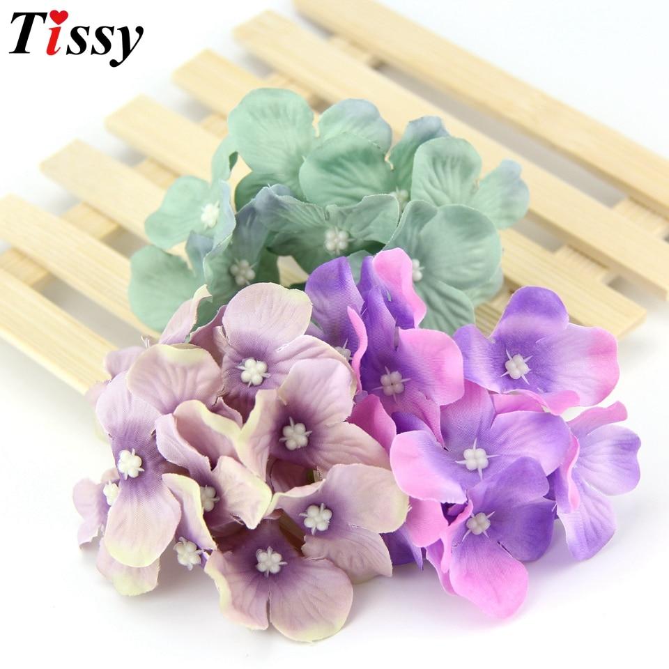 10pcs Hydrangea Silk Artificial Flowers Heads For Wedding Car