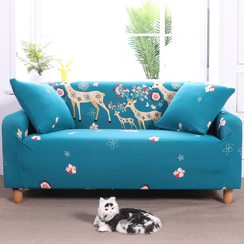 Sectional Sofa Cover All-inclusive Couch Case Tight Wrap Elastic Slipcover Christmas Deer Printed