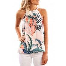 Женская блузка рубашка сексуальная без рукавов печати Холтер полиэстер женские рубашки повседневные женские кофты блуза blusas mujer de moda LJ& 50