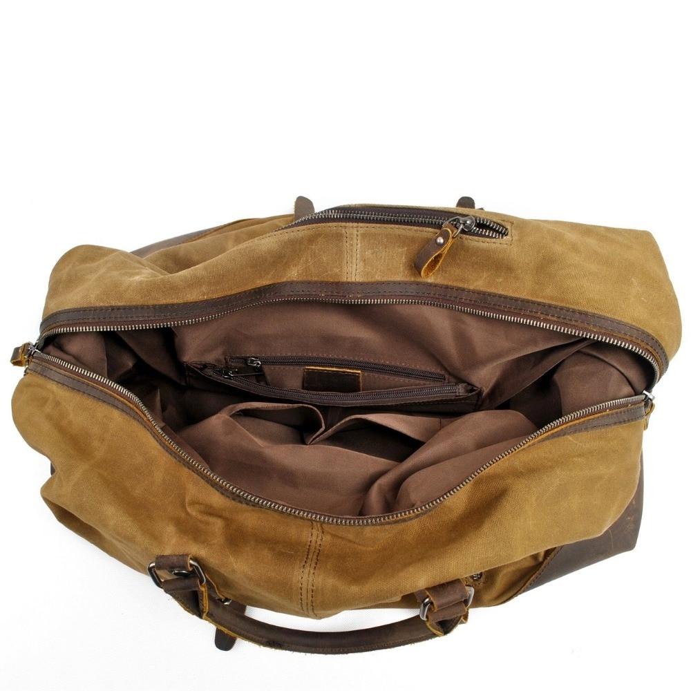 Vattentät Duffel Bag Men Canvas Canvas På Weekend Väskor Vintage - Väskor för bagage och resor - Foto 4