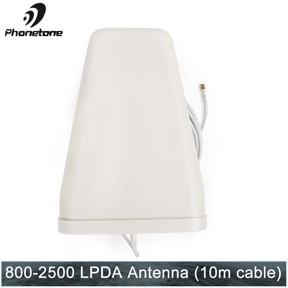High Gain Yagi LPDA Antenna 10dB 800-2500 MHz DCS&WCDMA 2G 3G Outdoor For Mobile Phone Communicatio Amplifier SMA Male 10m Cable