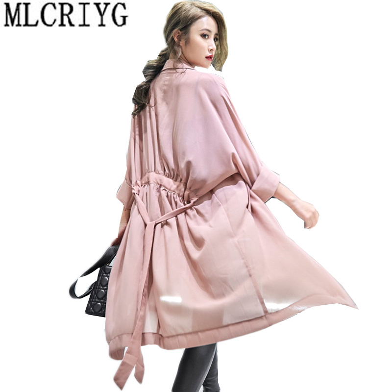 Hot Sale 2019 Summer Chiffon Windbreaker Women Long Loose Autumn   Trench   Coat For Women Belt Coats Lady Office Work Wear LX186