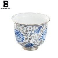 75 мл Цзиндэчжэнь ручной синий и белый фарфор и серебро здоровья Чай Кубок голубой Лотос окрашенные для вина Чёрный чай стакана воды посуда д
