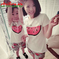 2016 Nueva Carta de Verano de la Familia T-shirt Ropa de Manga Corta Del O-cuello Camisetas Madre Hija Niños Unisex Niños Camiseta de La Manera
