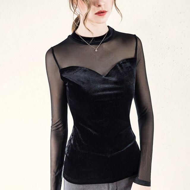 Black gold velvet stitching mesh bottoming shirt female 2019 new spring and autumn sexy women's design sg28898
