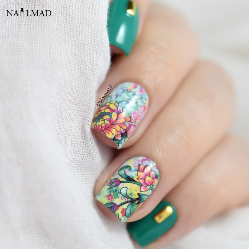 1 sheet NailMAD Floral Flower Nail Water Decals Nail Transfer Stickers Landscape Painting Nail Art Sticker Decoration yzwle 1 sheet chic flower nail art water decals transfer stickers splendid water decals sticker yzw 1398