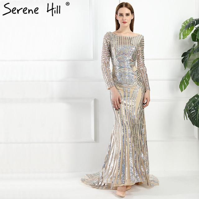 84c0abbd9cb 2019 luxus Langarm Pailletten Meerjungfrau Abendkleider Backless Dubai  Arabisch Robe De Soiree Lange Party Kleid Real