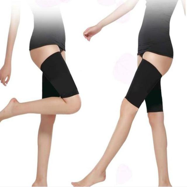 Men and women leg shaper sauna sweat thigh adjustable leggings weight loss hot neoprene compression belt sports knee pads 3