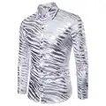 Camisa de hombre marca 2018 nueva moda Animal patrón rayas mangas largas camisas de hombre de la mejor calidad Camisa Masculina Casual Camisa Masculina
