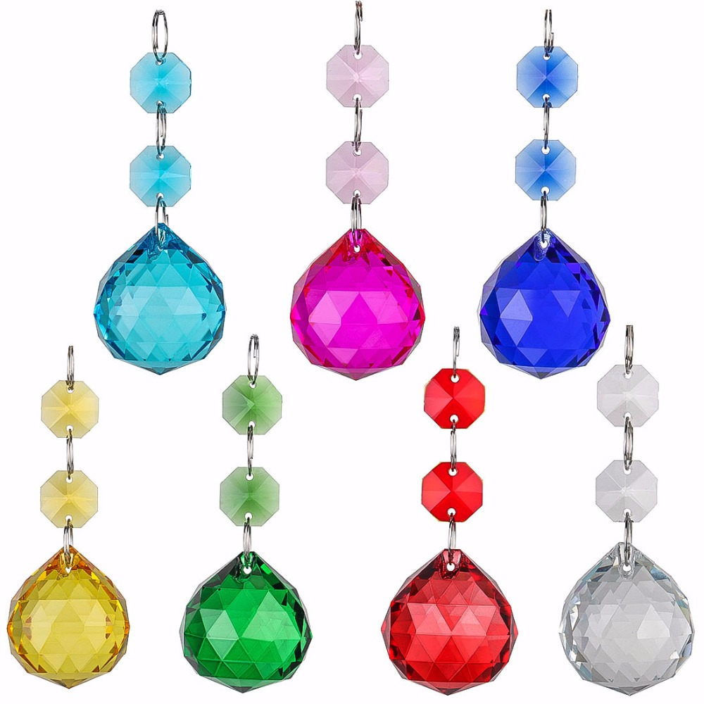 H&D 7pcs Rainbow Suncatcher Crystals Chandelier Ball Prisms Octogon Chakra Gift 30mm Home Wedding Chrismas Decor For Home ...