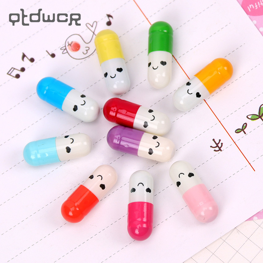 50 PCS/Lot New Message Capsule Envelope Letter Paper For Children Pill Capsule Message Letter Kawaii Emoticon Smile Pill