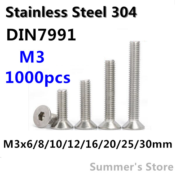 1000pcs/lot Din7991 M3 Stainless Steel Hex Socket Flat Head Cap Screw M3*6/8/10/12/16/20/25/30mm Countersunk Head Screw Bolt