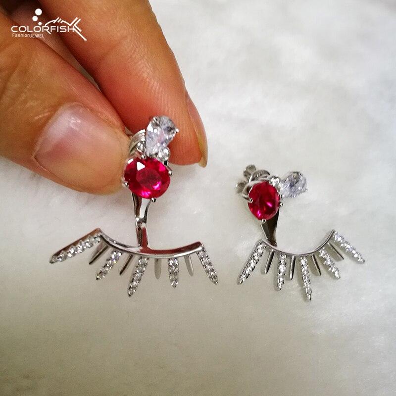 COLORFISH Original authentique 925 boucle d'oreille en argent Sterling pour les femmes bijoux de mode 1 ct ovale rouge mignon boucle d'oreille
