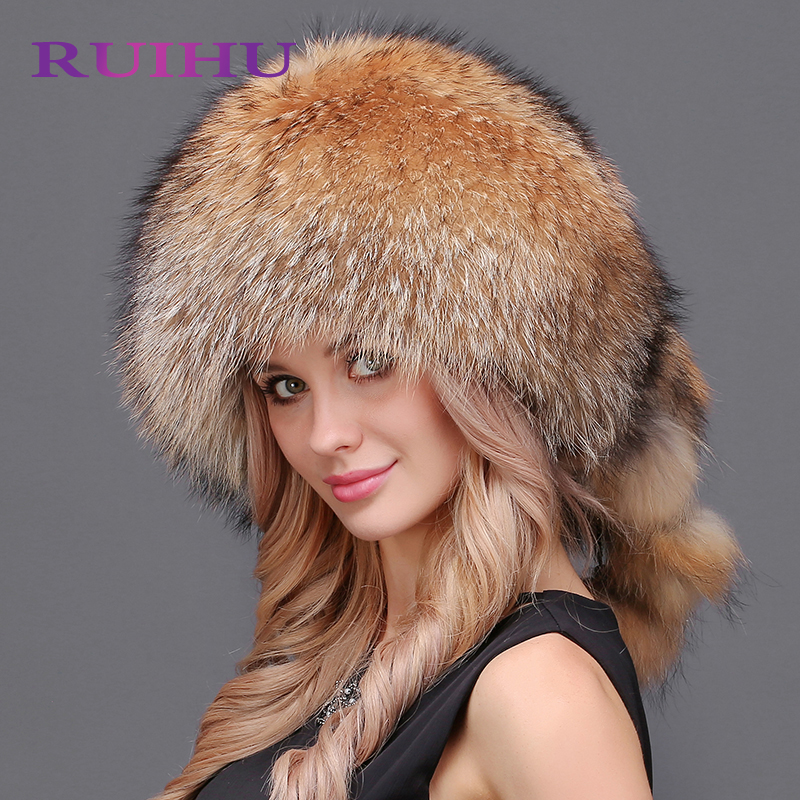 RUIHU Thick Female Cap Knitted Natural Mink Fur Winter Warm Hats With Natural Mink fur pom poms High Quality RHM627