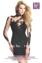 free shipping best sale Short Mini Black Lace Long Sleeves sweet dress wholesale celebrity dresses 2013 Quinceanera Party Dress