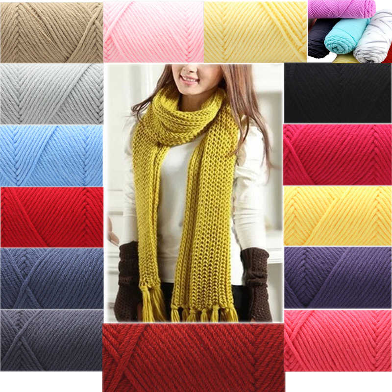Beau fil de coton agrafé Long doux naturel créatif fil épais pour tricoter bébé laine Crochet fil fil d'armure 100 g/pcs