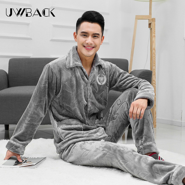 Uwback 2017 nuevo invierno pijama hombres masculino franela invierno pijamas hombres pijamas de coral polar gruesa moderna homme ropa de dormir caa237