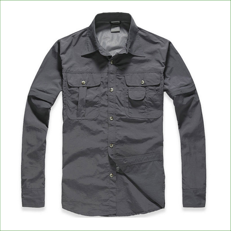 OT01 Outdoor Brand Hiking Shirt Men Removable Quick Dry Breathable Shirt UPF50+ Summer Hiking Camping Fishing