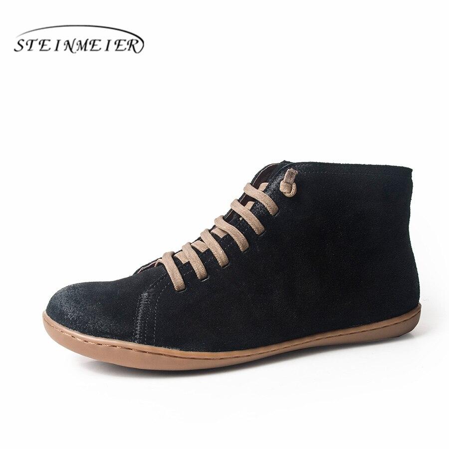 النساء الشتاء الثلوج جلد طبيعي الكاحل الربيع حذاء مسطح امرأة قصيرة البني الأحذية مع الفراء 2019 للنساء الدانتيل يصل الأحذية-في أحذية الكاحل من أحذية على  مجموعة 1