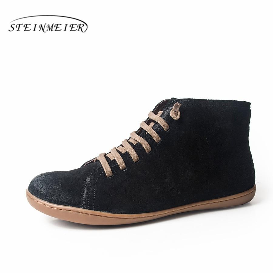 Botas de nieve de invierno de cuero genuino tobillo primavera zapatos planos mujer botas cortas marrones con piel 2019 para mujer encaje botas-in Botas hasta el tobillo from zapatos    1