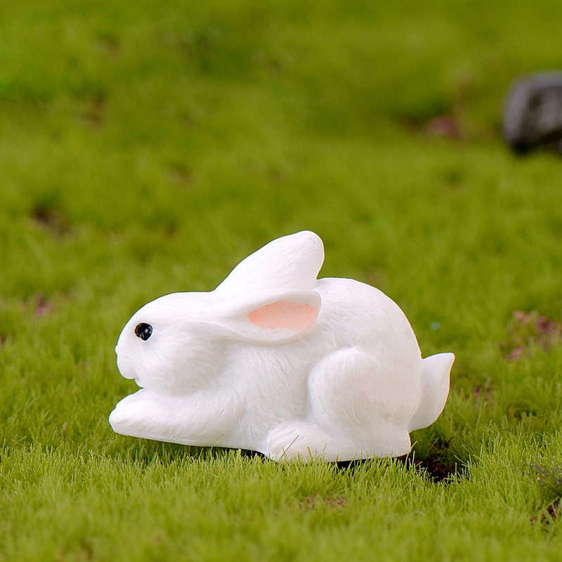 Easter Love White Rabbit Figures Funny Animal Model Miniature Figurines Fairy home Garden Wedding Doll Decoration Girl toy gift 3