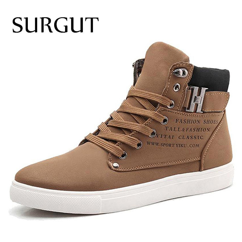 SURGUT Men Shoes 2019 Top Fashion New Winter Front Lace-Up Casual Ankle Boots Autumn Shoes Men Wedge Fur Warm Leather Footwear