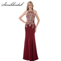 Burgundy Mermaid Evening Dresses 2017 O Neck Zipper Back In Stock Party Prom Gowns Embroidery with Beaded Long Sweep Train CC440