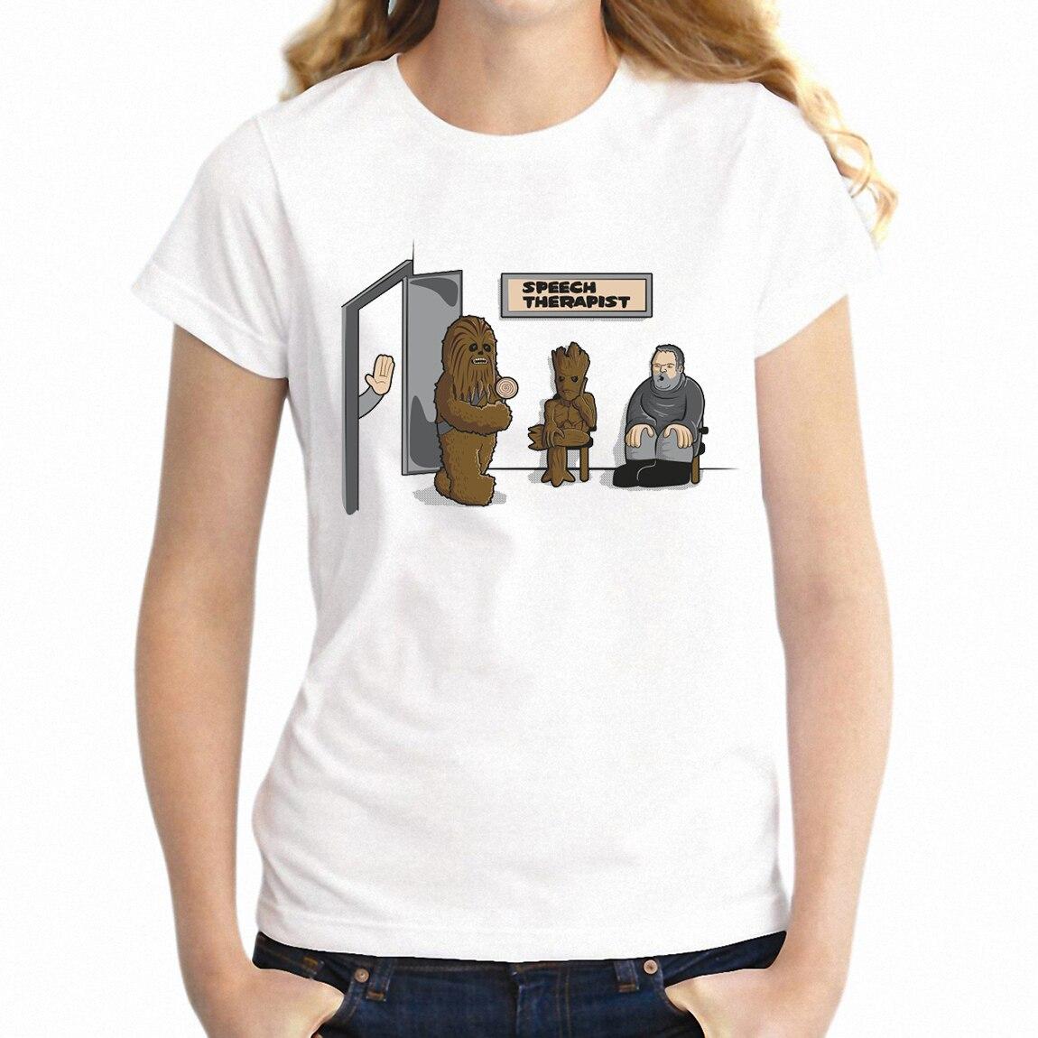 Women's T Shirt Speech Therapy Chewbacca Chewie Hodor Groot Funny Girl's Tee(China)