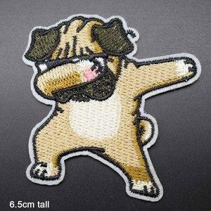Забавная мигающая собака, полностью вышитая тканевая нашивка с утюгом для девочек и мальчиков, наклейки на одежду, аксессуары для одежды