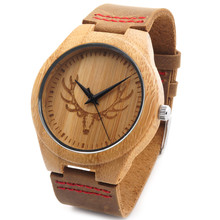 BOBO BIRD Gravé Loup Tête En Bois Montre-Bracelet Fine Bijoux Quartz montres pour Hommes avec Red Point Bracelet En Cuir dans Cadeau boîte