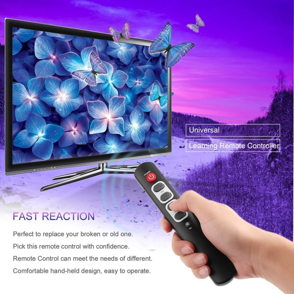 Universal 6 Keys Learning Remote Control with big button Smart Controller for TV,DVD,STB,VCR, SAT Easy To Old,Child