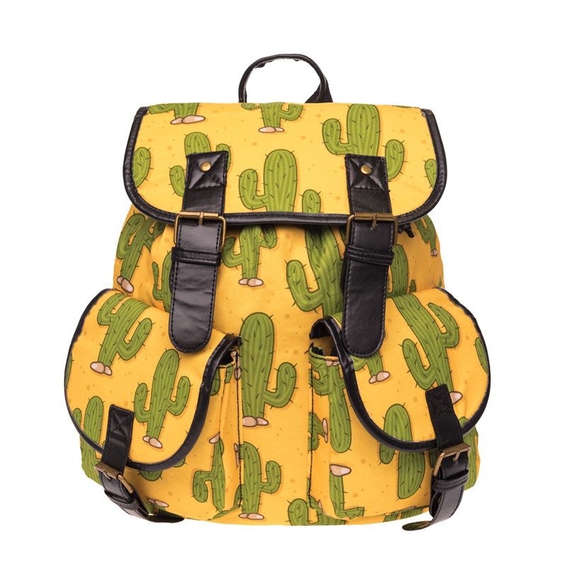 AFBC Mexico Cactus Printing leather backpack vintage backpack women