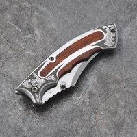 pocket folding knife black steel 440c blade Full Steel handle outdoor camping hunting tactical knife survival EDC tools