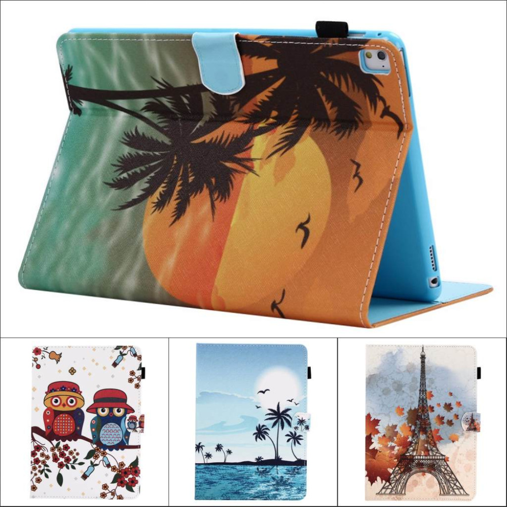 Fashion Flower Tree Owl wallet Card Slot Pu leather stand holder Cover Case for ipad pro 9.7 for ipad pro mini with stylus pen