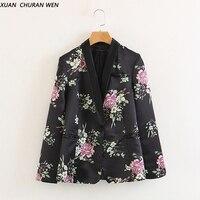 XUANCHURANWEN Women Floral Blazers V Neck Spring Slim Casual Suit Coat Female Long Sleeve Suit Coat