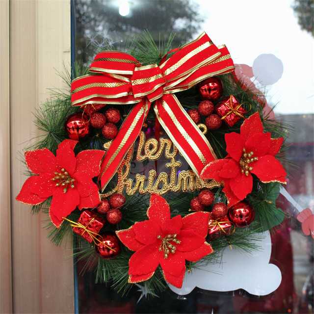 1pcs 30cm merry christmas wreath with bow handcrafted new year elegant holiday wreath for the front - Elegant Christmas Wreaths
