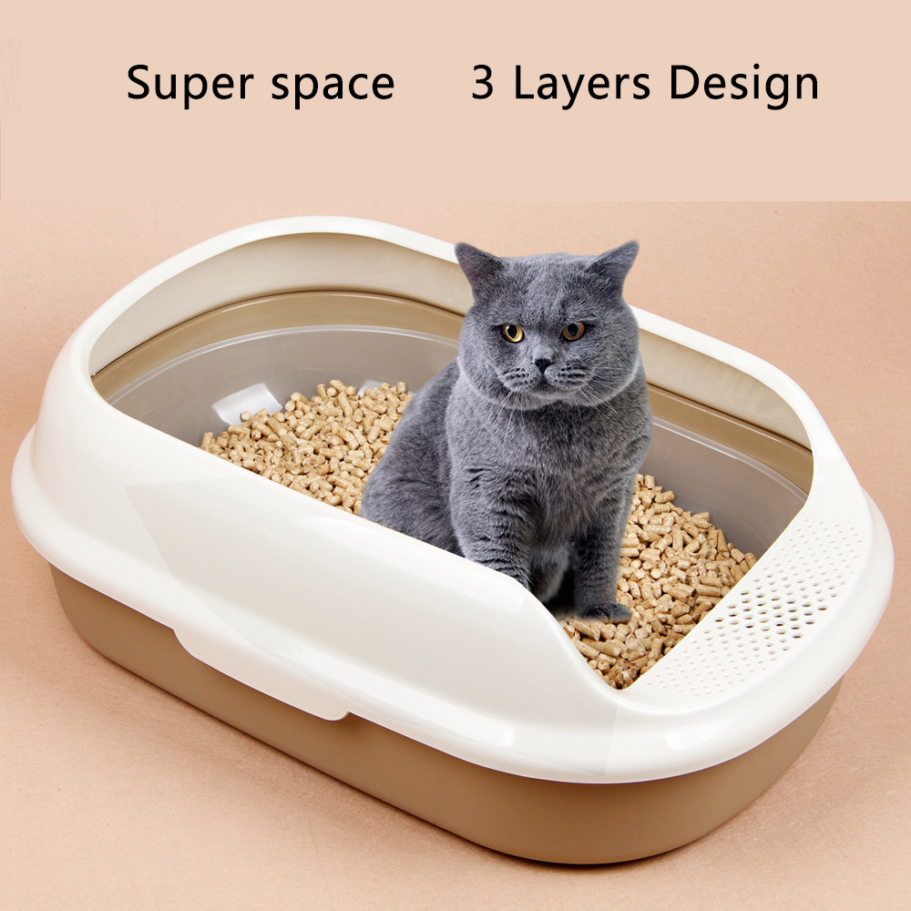 Cat Litter Box Cat Toilet 2or3Layer Pine Litter Bedpans Semi-Closed Anti-splashing Cat Pot Crystal Sand/bentonite/tofu Available