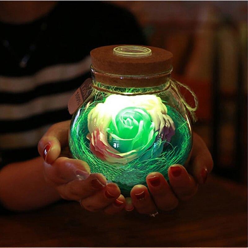LED RGB Dimmer Lampe Nachtlicht Blume Flasche Kreative Romantische Rose Birne Große Ferien Geschenk Für Mädchen 16 Farben Fern