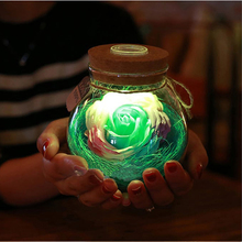 LED RGB Dimmer Lamp Night Light Flower Bottle Creative Romantic Rose Bulb Great Holiday Gift For Girl 16 Colors Remote