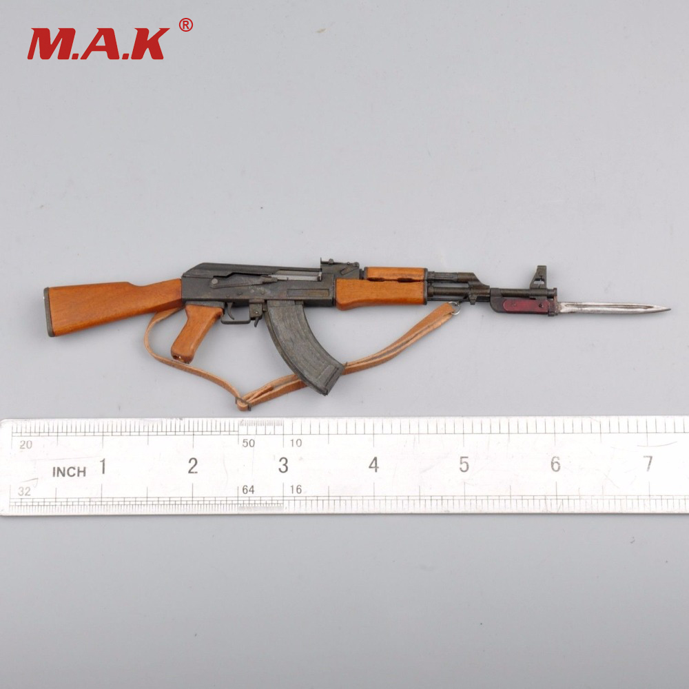 1/6 Scale Weapon Model AK47 Metal Gun Model With Bayonet for 12 inches Action Figures Accessories 1 6 scale rifle gun model for 12 inches action figure accessories collections x80028 m700pss x80026 psg1