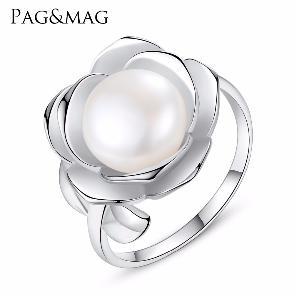 PAG&MAG 100% Real freshwater Pearl Ring With 925 sterling silver adjustable ring big Size 10mm AAAA Natural Pearl Jewelry 925 silver real natural big 925 sterling silver large circle of natural seawater pearl oyster jewelry bag mail to send his girlf